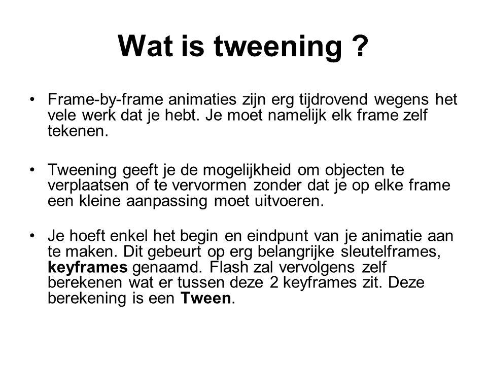 Wat is tweening ? Frame-by-frame animaties zijn erg tijdrovend wegens het vele werk dat je hebt. Je moet namelijk elk frame zelf tekenen. Tweening gee
