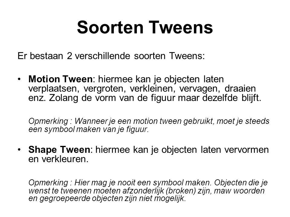 Soorten Tweens Er bestaan 2 verschillende soorten Tweens: Motion Tween: hiermee kan je objecten laten verplaatsen, vergroten, verkleinen, vervagen, dr