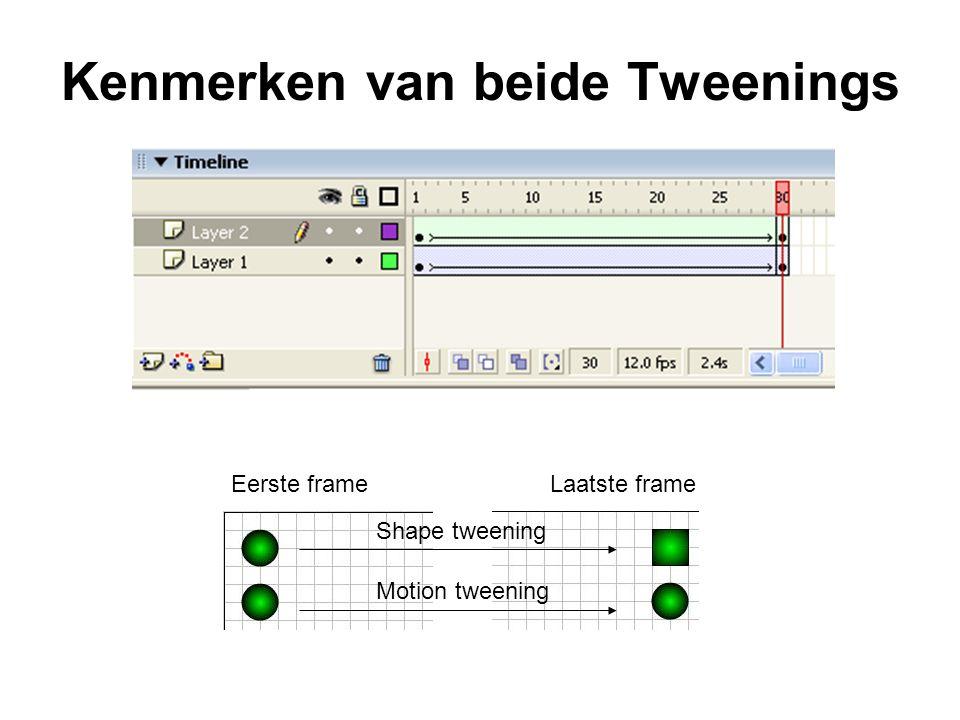 Kenmerken van beide Tweenings Eerste frame Laatste frame Shape tweening Motion tweening