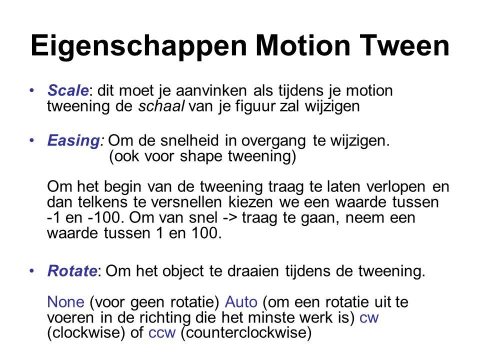 Eigenschappen Motion Tween Scale: dit moet je aanvinken als tijdens je motion tweening de schaal van je figuur zal wijzigen Easing: Om de snelheid in