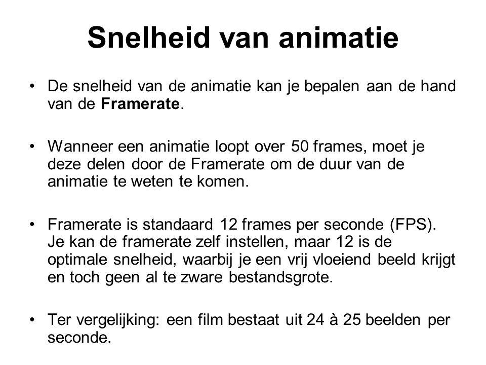 Snelheid van animatie De snelheid van de animatie kan je bepalen aan de hand van de Framerate. Wanneer een animatie loopt over 50 frames, moet je deze