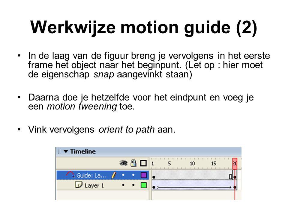 Werkwijze motion guide (2) In de laag van de figuur breng je vervolgens in het eerste frame het object naar het beginpunt. (Let op : hier moet de eige