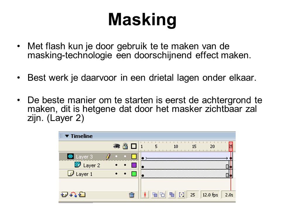 Masking Met flash kun je door gebruik te te maken van de masking-technologie een doorschijnend effect maken. Best werk je daarvoor in een drietal lage