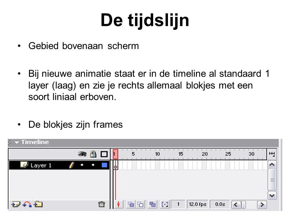 De tijdslijn Gebied bovenaan scherm Bij nieuwe animatie staat er in de timeline al standaard 1 layer (laag) en zie je rechts allemaal blokjes met een