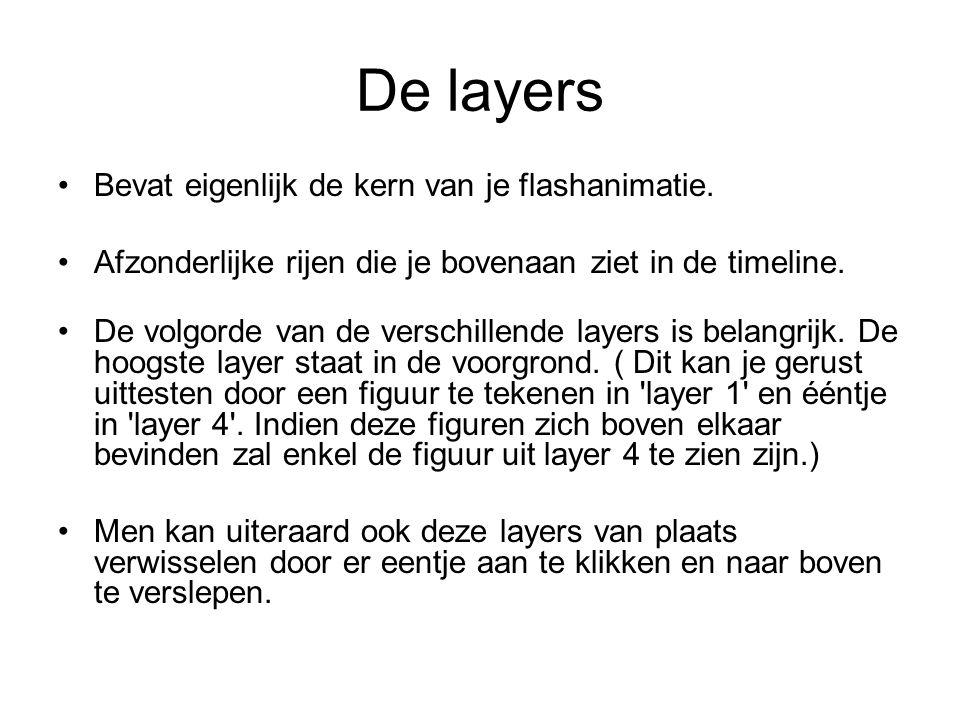 De layers Bevat eigenlijk de kern van je flashanimatie. Afzonderlijke rijen die je bovenaan ziet in de timeline. De volgorde van de verschillende laye