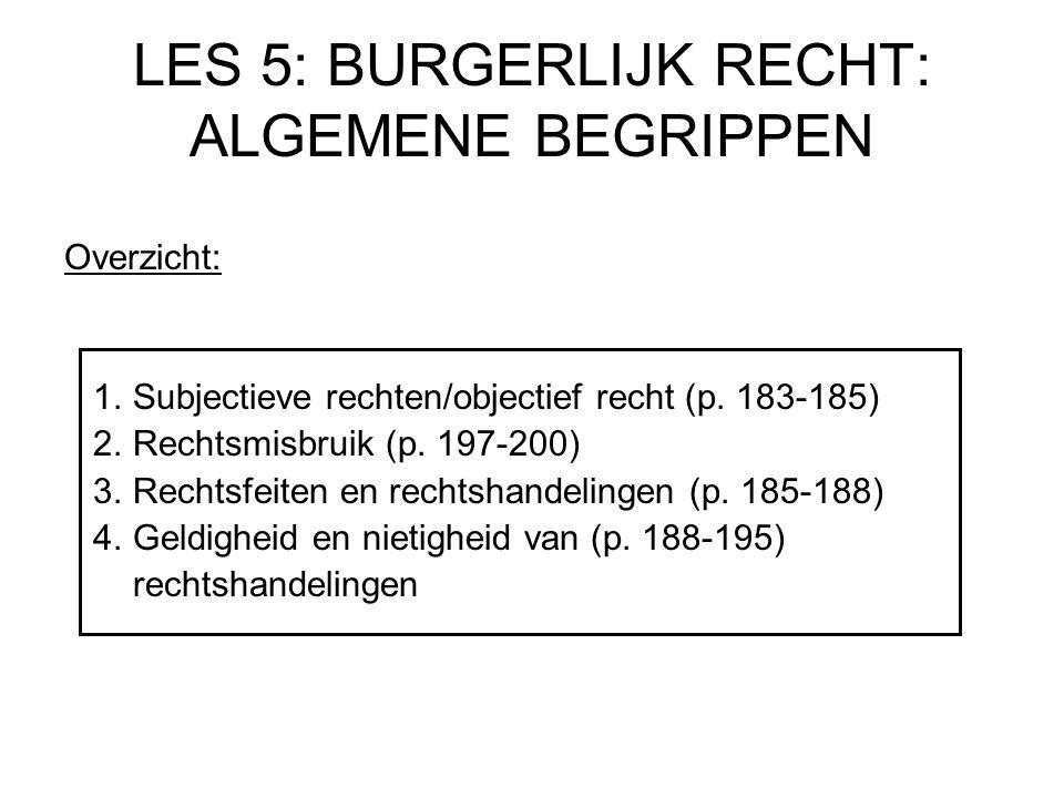 LES 5: BURGERLIJK RECHT: ALGEMENE BEGRIPPEN Overzicht: 1. Subjectieve rechten/objectief recht (p. 183-185) 2. Rechtsmisbruik (p. 197-200) 3. Rechtsfei