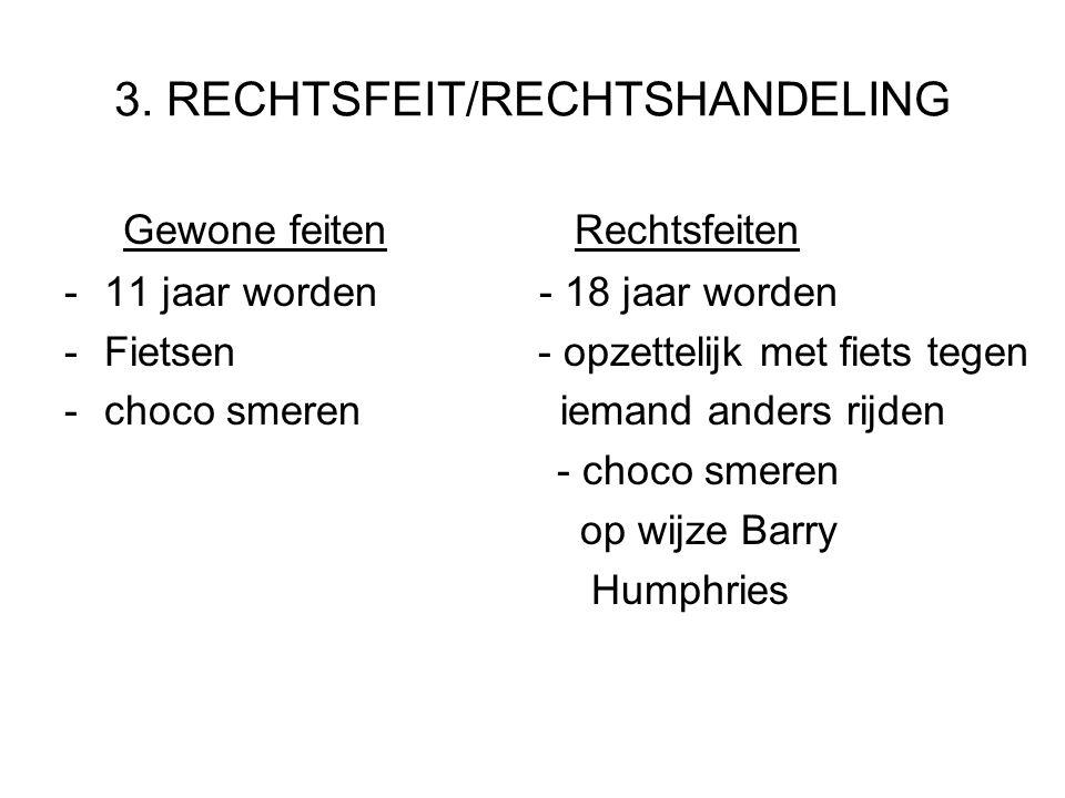 3. RECHTSFEIT/RECHTSHANDELING Gewone feiten Rechtsfeiten -11 jaar worden - 18 jaar worden -Fietsen - opzettelijk met fiets tegen -choco smeren iemand