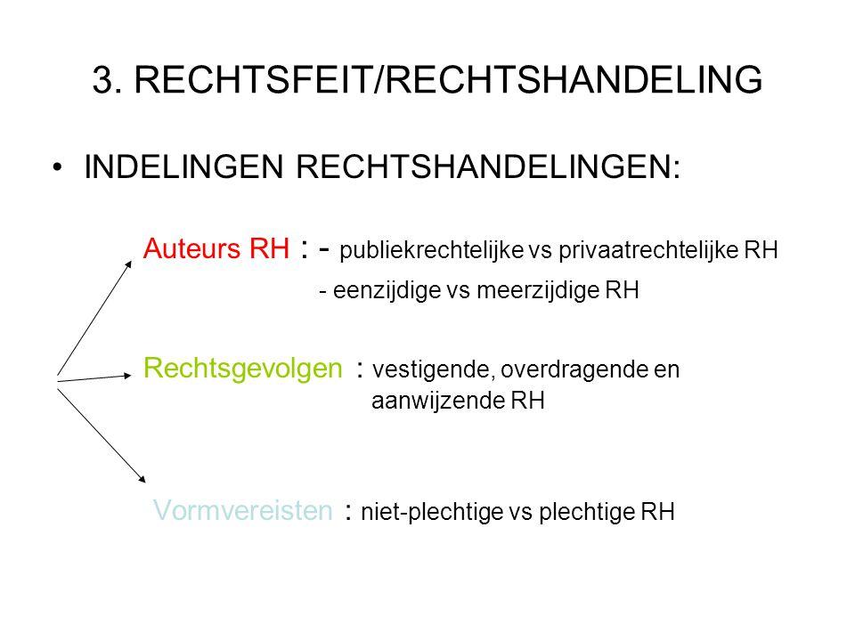 3. RECHTSFEIT/RECHTSHANDELING INDELINGEN RECHTSHANDELINGEN: Auteurs RH : - publiekrechtelijke vs privaatrechtelijke RH - eenzijdige vs meerzijdige RH