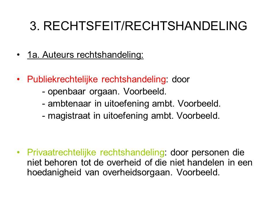 3. RECHTSFEIT/RECHTSHANDELING 1a. Auteurs rechtshandeling: Publiekrechtelijke rechtshandeling: door - openbaar orgaan. Voorbeeld. - ambtenaar in uitoe