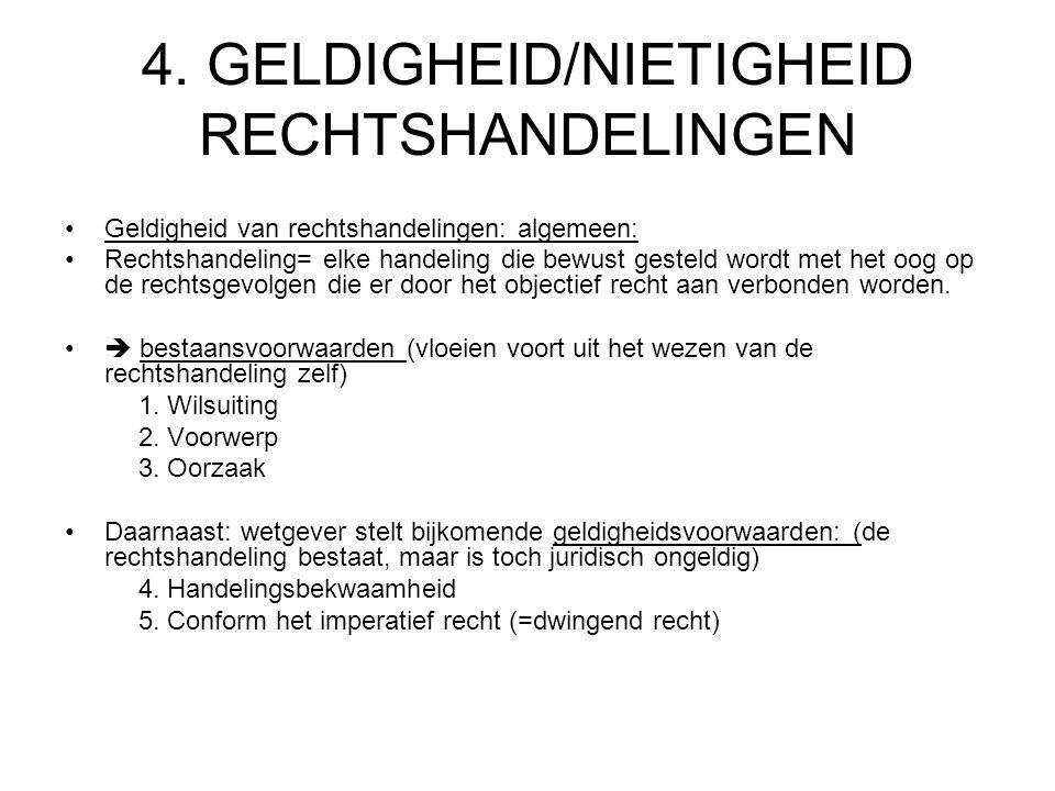 4. GELDIGHEID/NIETIGHEID RECHTSHANDELINGEN Geldigheid van rechtshandelingen: algemeen: Rechtshandeling= elke handeling die bewust gesteld wordt met he