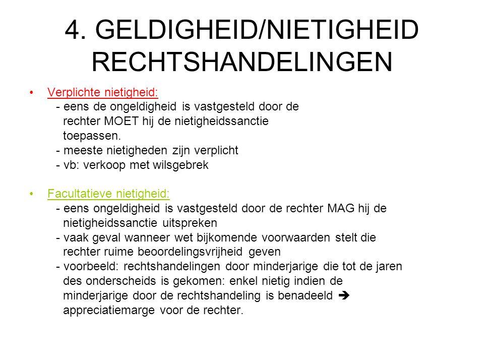 4. GELDIGHEID/NIETIGHEID RECHTSHANDELINGEN Verplichte nietigheid: - eens de ongeldigheid is vastgesteld door de rechter MOET hij de nietigheidssanctie