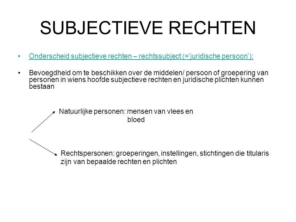 SUBJECTIEVE RECHTEN Onderscheid subjectieve rechten – rechtssubject (='juridische persoon'): Bevoegdheid om te beschikken over de middelen/ persoon of