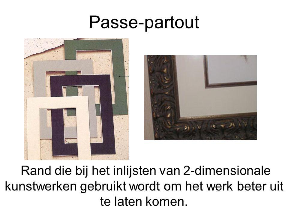 Passe-partout Rand die bij het inlijsten van 2-dimensionale kunstwerken gebruikt wordt om het werk beter uit te laten komen.