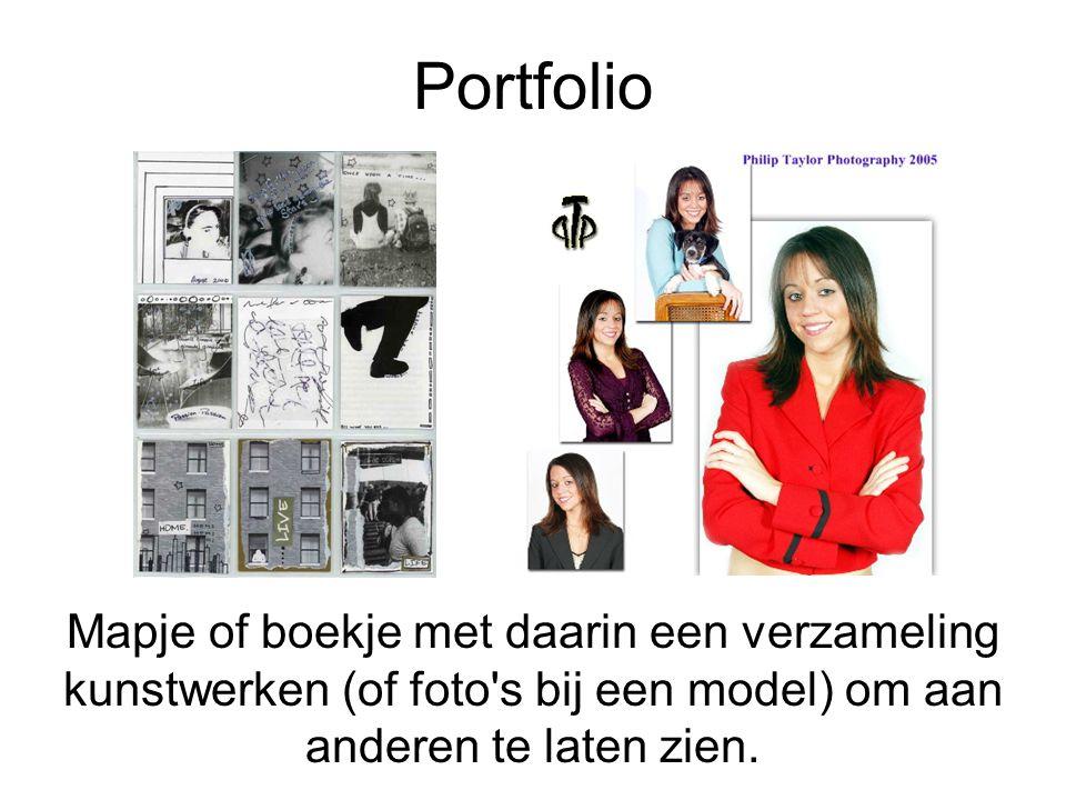 Portfolio Mapje of boekje met daarin een verzameling kunstwerken (of foto's bij een model) om aan anderen te laten zien.