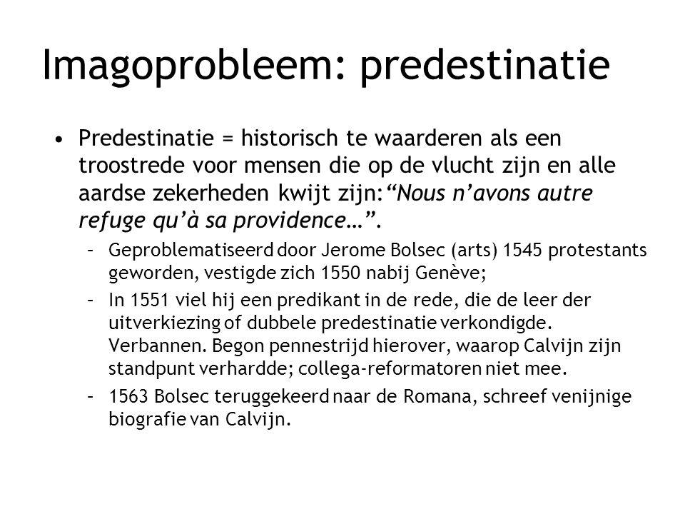 Imagoprobleem: predestinatie Predestinatie = historisch te waarderen als een troostrede voor mensen die op de vlucht zijn en alle aardse zekerheden kw