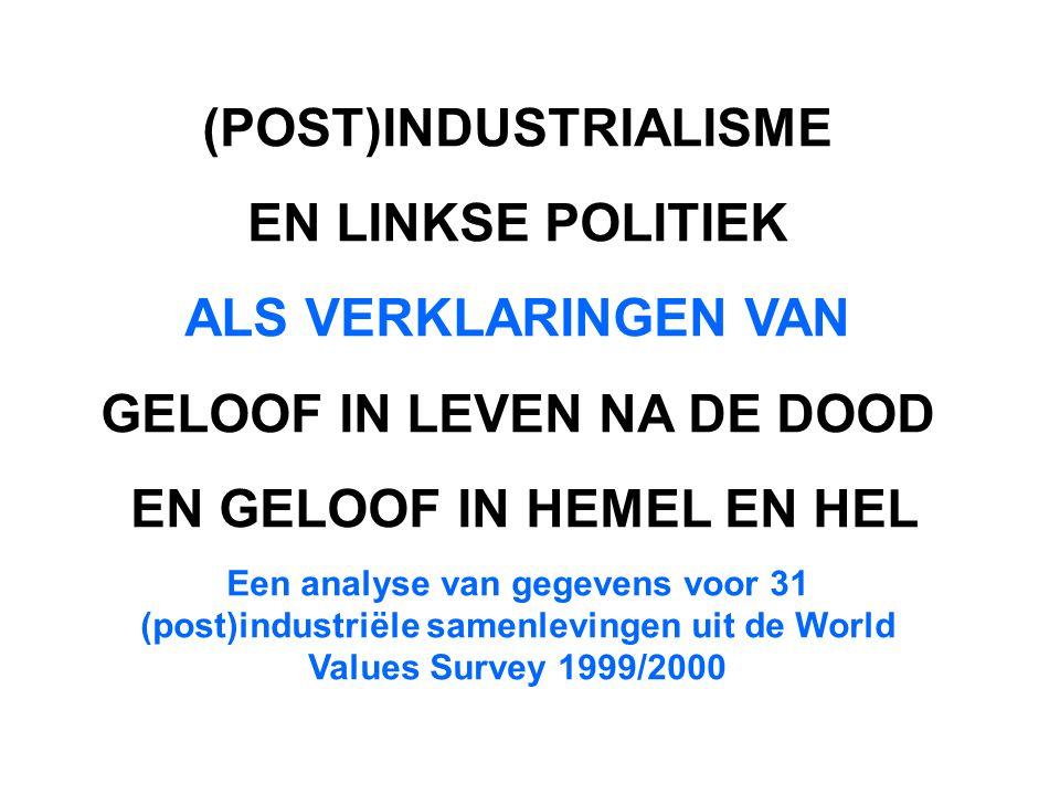 (POST)INDUSTRIALISME EN LINKSE POLITIEK ALS VERKLARINGEN VAN GELOOF IN LEVEN NA DE DOOD EN GELOOF IN HEMEL EN HEL Een analyse van gegevens voor 31 (post)industriële samenlevingen uit de World Values Survey 1999/2000