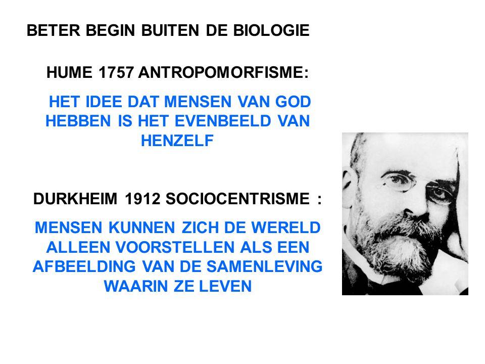 HUME 1757 ANTROPOMORFISME: HET IDEE DAT MENSEN VAN GOD HEBBEN IS HET EVENBEELD VAN HENZELF DURKHEIM 1912 SOCIOCENTRISME : MENSEN KUNNEN ZICH DE WERELD ALLEEN VOORSTELLEN ALS EEN AFBEELDING VAN DE SAMENLEVING WAARIN ZE LEVEN BETER BEGIN BUITEN DE BIOLOGIE