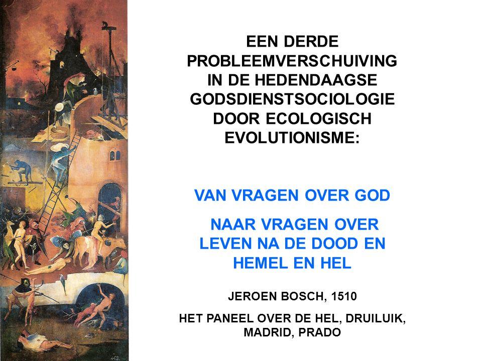 EEN DERDE PROBLEEMVERSCHUIVING IN DE HEDENDAAGSE GODSDIENSTSOCIOLOGIE DOOR ECOLOGISCH EVOLUTIONISME: VAN VRAGEN OVER GOD NAAR VRAGEN OVER LEVEN NA DE DOOD EN HEMEL EN HEL JEROEN BOSCH, 1510 HET PANEEL OVER DE HEL, DRUILUIK, MADRID, PRADO