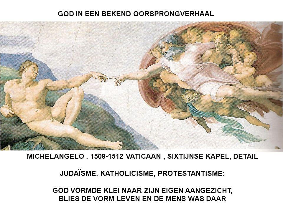 GOD IN EEN BEKEND OORSPRONGVERHAAL MICHELANGELO, 1508-1512 VATICAAN, SIXTIJNSE KAPEL, DETAIL JUDAÏSME, KATHOLICISME, PROTESTANTISME: GOD VORMDE KLEI NAAR ZIJN EIGEN AANGEZICHT, BLIES DE VORM LEVEN EN DE MENS WAS DAAR