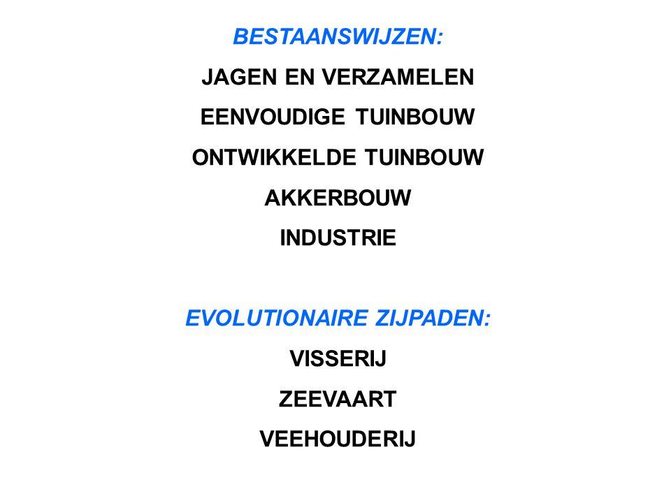 BESTAANSWIJZEN: JAGEN EN VERZAMELEN EENVOUDIGE TUINBOUW ONTWIKKELDE TUINBOUW AKKERBOUW INDUSTRIE EVOLUTIONAIRE ZIJPADEN: VISSERIJ ZEEVAART VEEHOUDERIJ