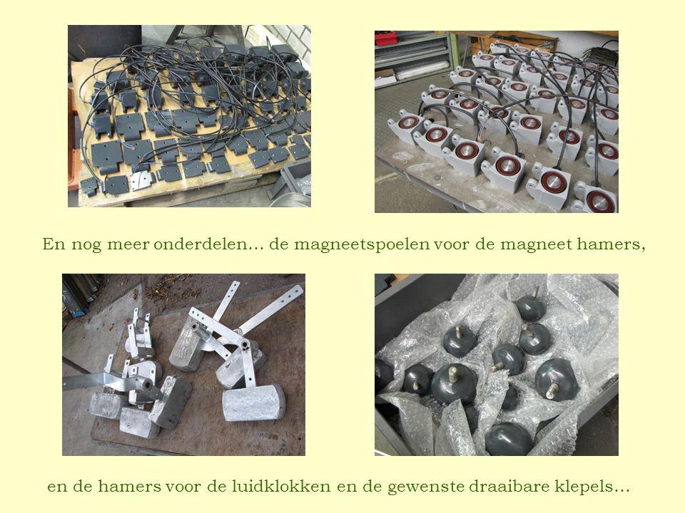 en de hamers voor de luidklokken en de gewenste draaibare klepels… En nog meer onderdelen… de magneetspoelen voor de magneet hamers,