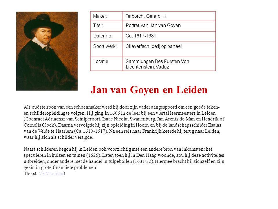 Maker:Terborch, Gerard, II Titel:Portret van Jan van Goyen Datering:Ca. 1617-1681 Soort werk:Olieverfschilderij op paneel LocatieSammlungen Des Furste