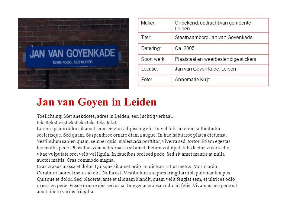 Maker:Onbekend, opdracht van gemeente Leiden Titel:Staatnaambord Jan van Goyenkade Datering:Ca. 2005 Soort werk:Plaatstaal en weerbestendige stickers