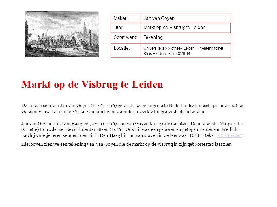 Maker:Jan van Goyen Titel:Markt op de Visbrug te Leiden Soort werk:Tekening Locatie: Universiteitsbibliotheek Leiden - Prentenkabinet - Kluis +2 Doos