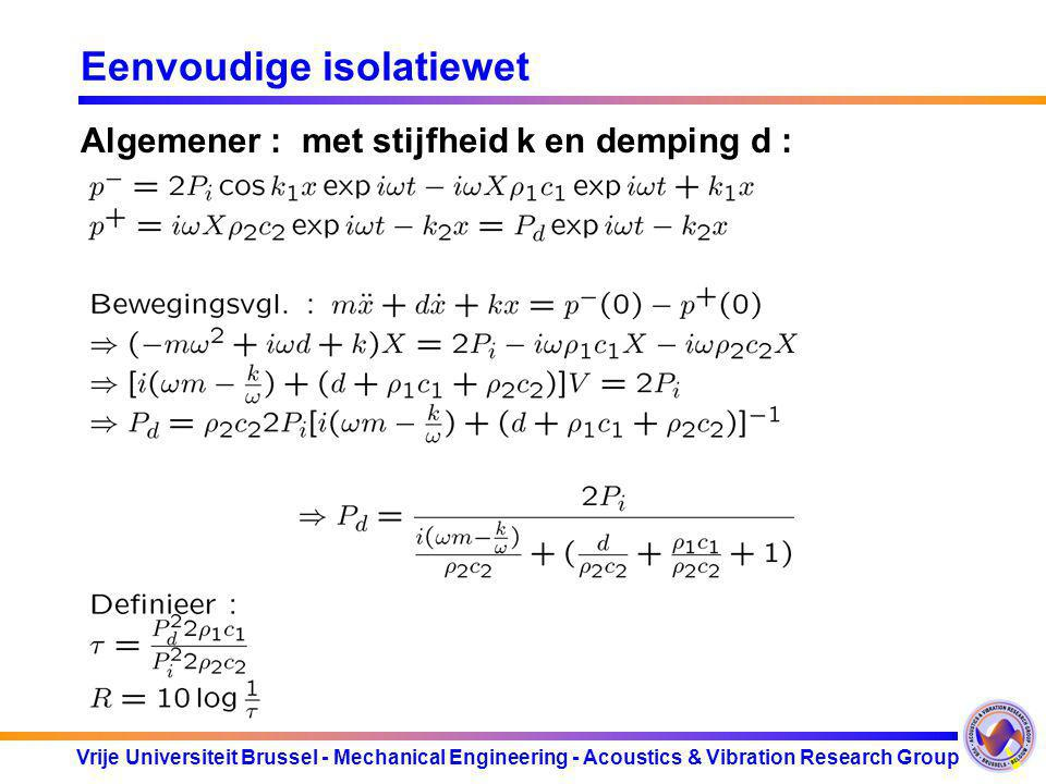 Vrije Universiteit Brussel - Mechanical Engineering - Acoustics & Vibration Research Group Eenvoudige isolatiewet Algemener : met stijfheid k en dempi