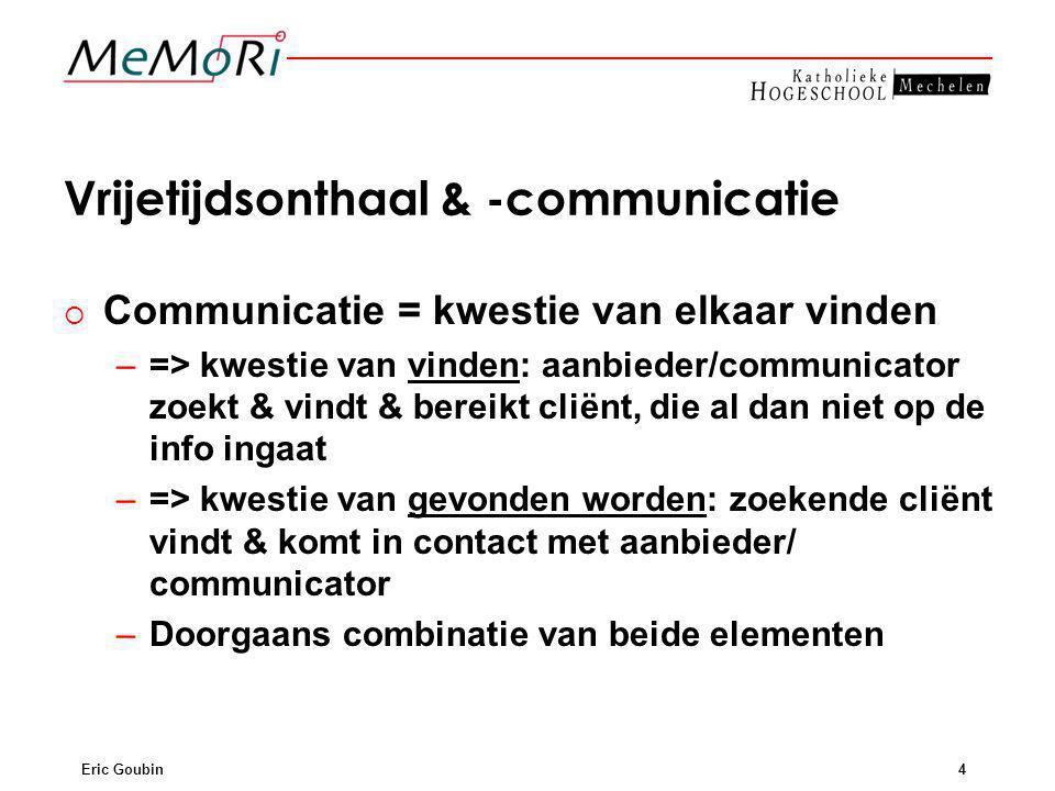 Eric Goubin4 Vrijetijdsonthaal & -communicatie   Communicatie = kwestie van elkaar vinden – –=> kwestie van vinden: aanbieder/communicator zoekt & v