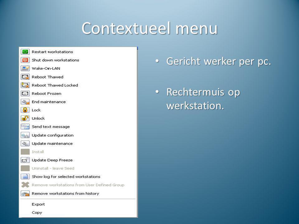 Contextueel menu Gericht werker per pc. Gericht werker per pc. Rechtermuis op werkstation. Rechtermuis op werkstation.