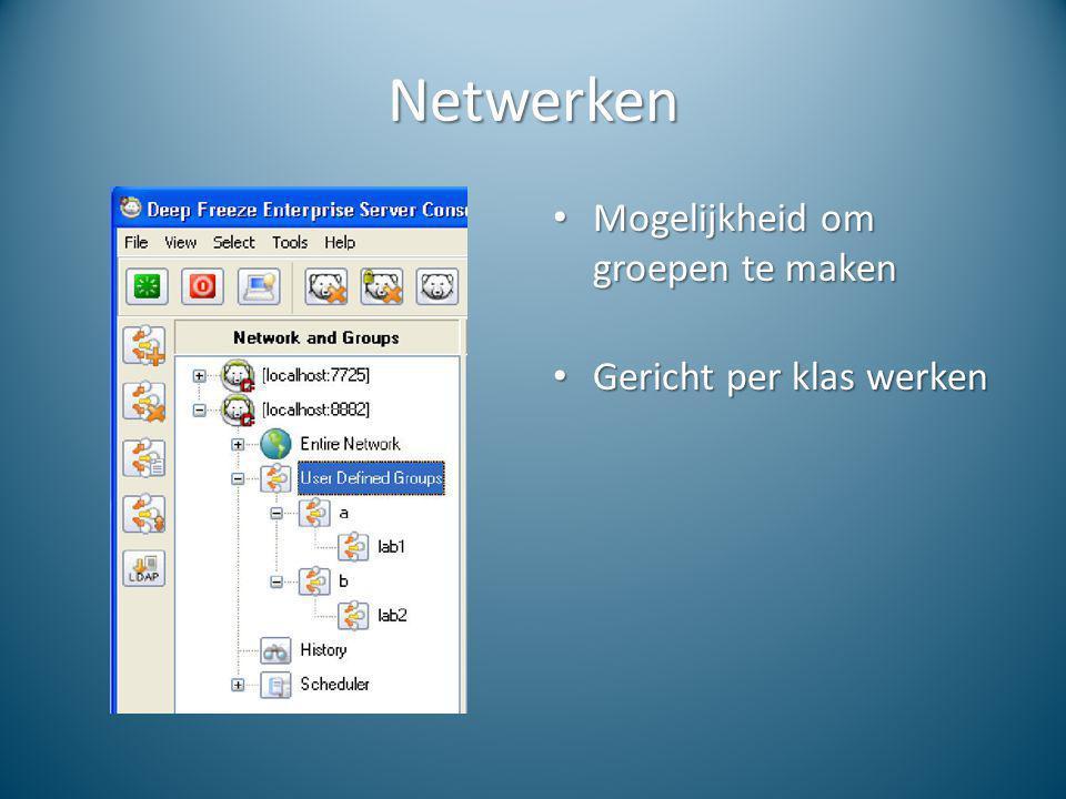 Netwerken Mogelijkheid om groepen te maken Mogelijkheid om groepen te maken Gericht per klas werken Gericht per klas werken