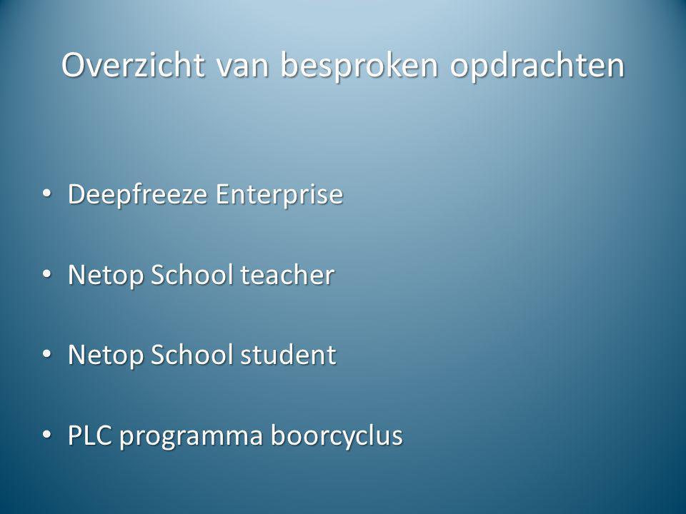 Overzicht van besproken opdrachten Deepfreeze Enterprise Deepfreeze Enterprise Netop School teacher Netop School teacher Netop School student Netop Sc