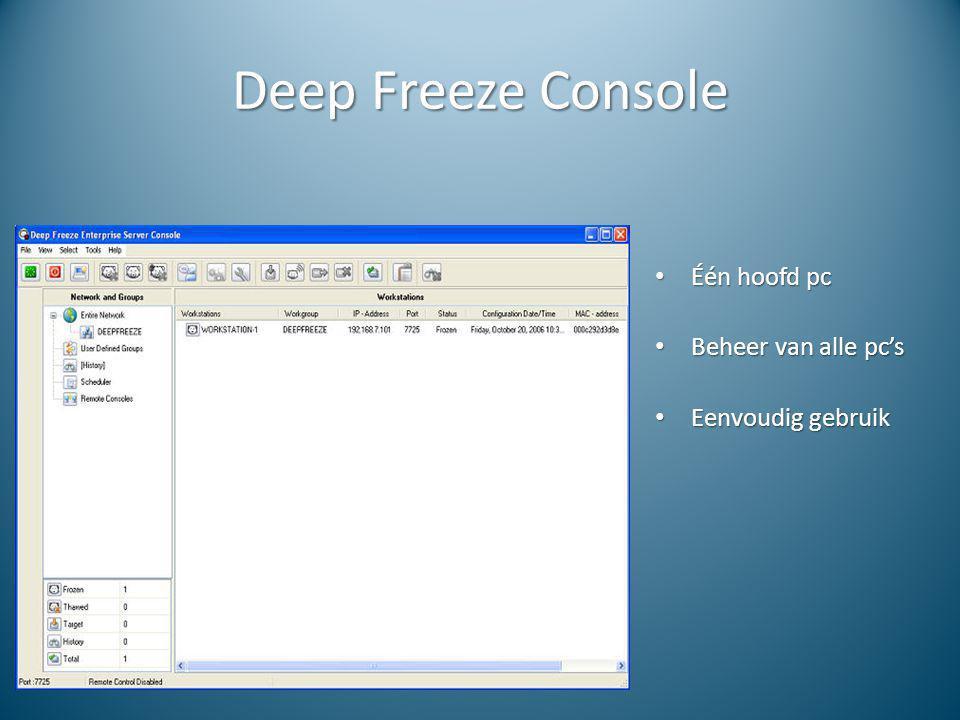 Deep Freeze Console Één hoofd pc Één hoofd pc Beheer van alle pc's Beheer van alle pc's Eenvoudig gebruik Eenvoudig gebruik
