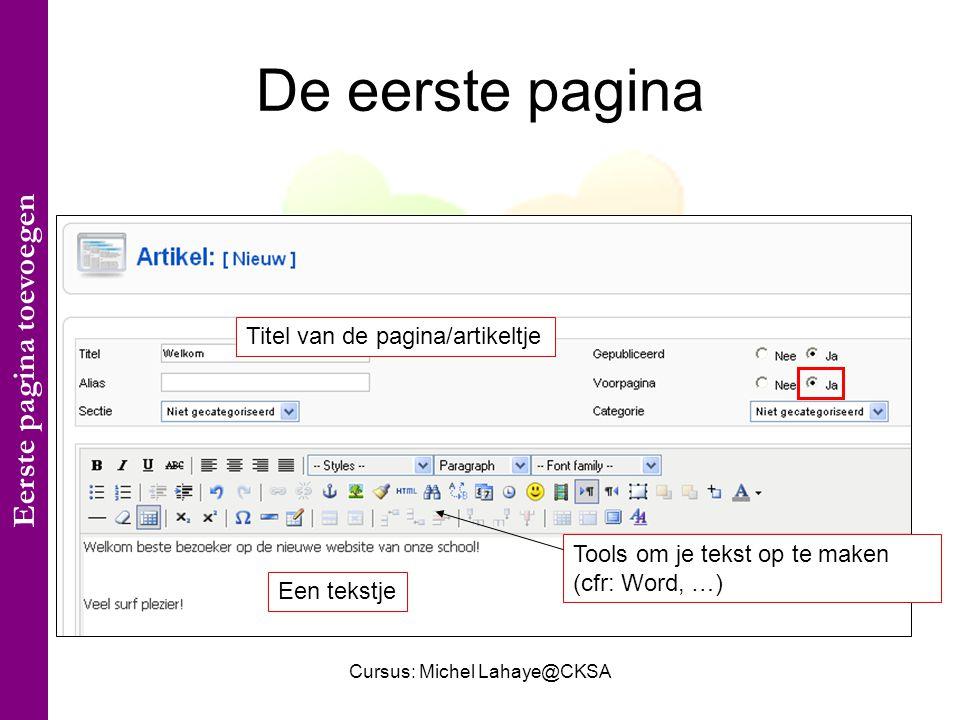 Cursus: Michel Lahaye@CKSA De eerste pagina Titel van de pagina/artikeltje Een tekstje Tools om je tekst op te maken (cfr: Word, …) Eerste pagina toevoegen