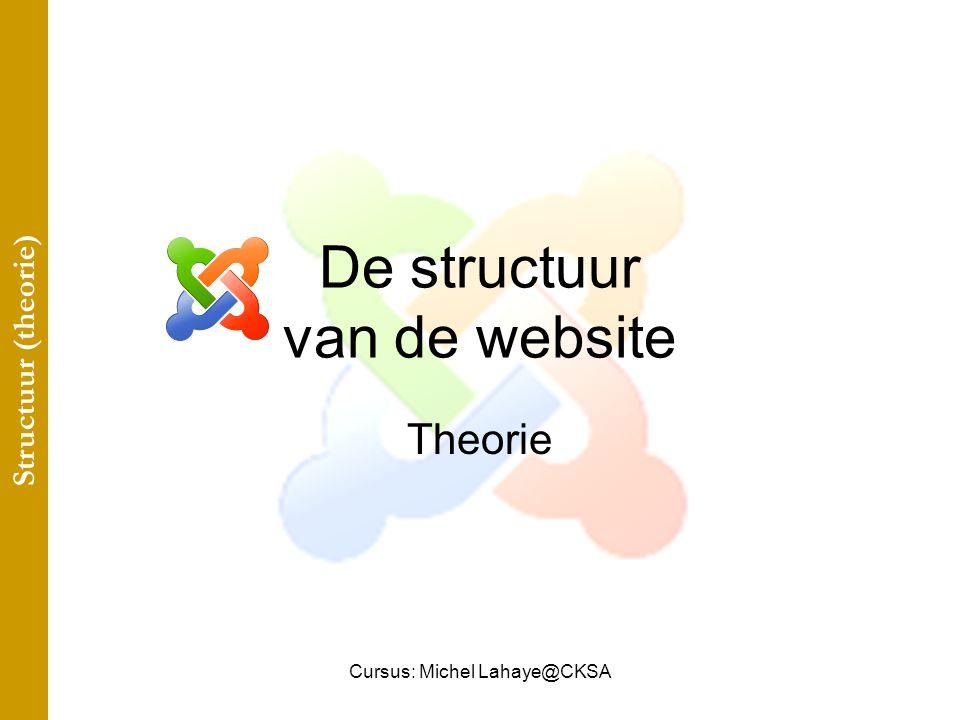 Cursus: Michel Lahaye@CKSA De structuur van de website Theorie Structuur (theorie)