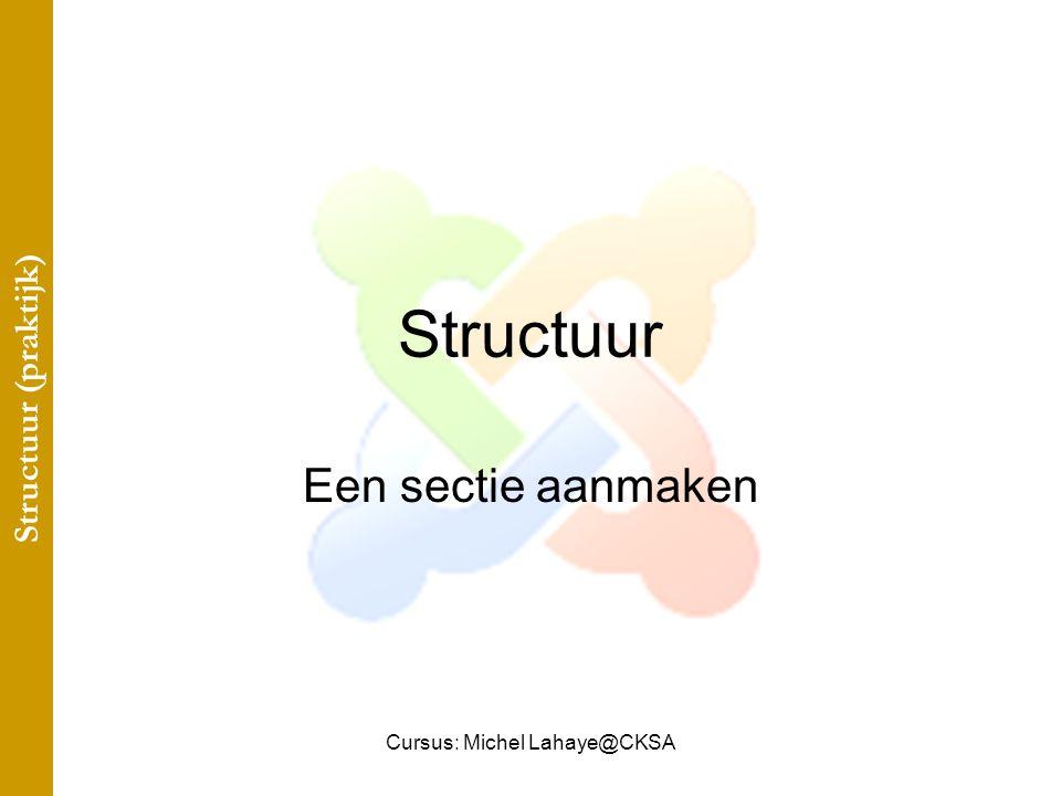 Cursus: Michel Lahaye@CKSA Structuur Een sectie aanmaken Structuur (praktijk)