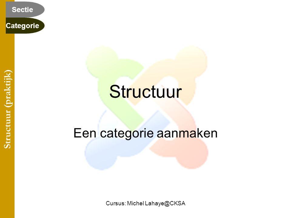 Cursus: Michel Lahaye@CKSA Structuur Een categorie aanmaken Structuur (praktijk) Categorie Sectie