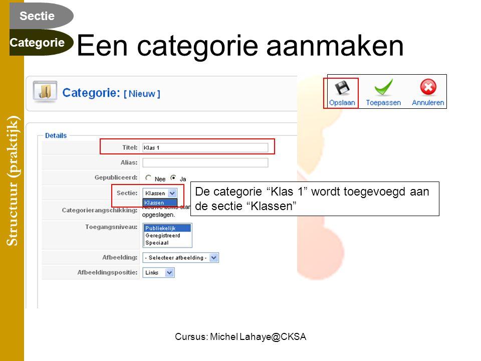Cursus: Michel Lahaye@CKSA Een categorie aanmaken De categorie Klas 1 wordt toegevoegd aan de sectie Klassen Structuur (praktijk) Categorie Sectie