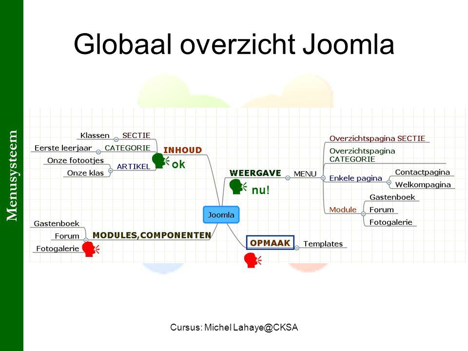 Cursus: Michel Lahaye@CKSA Globaal overzicht Joomla ok nu! Menusysteem