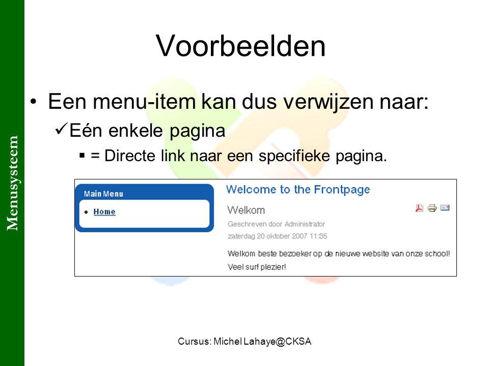 Cursus: Michel Lahaye@CKSA Voorbeelden Een menu-item kan dus verwijzen naar: Eén enkele pagina  = Directe link naar een specifieke pagina.