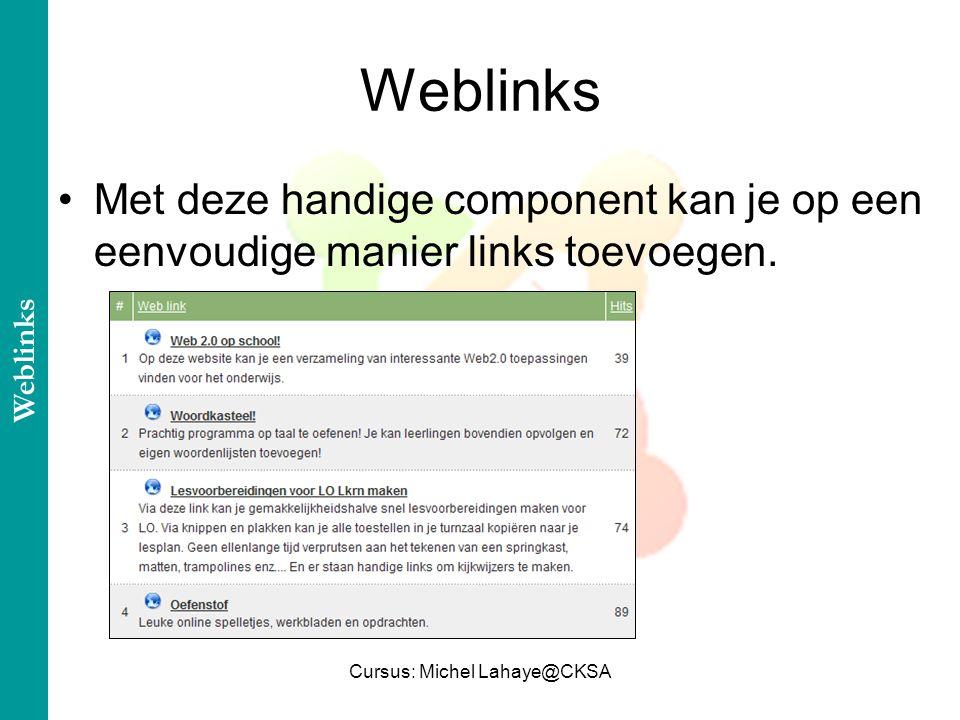 Cursus: Michel Lahaye@CKSA Met deze handige component kan je op een eenvoudige manier links toevoegen.