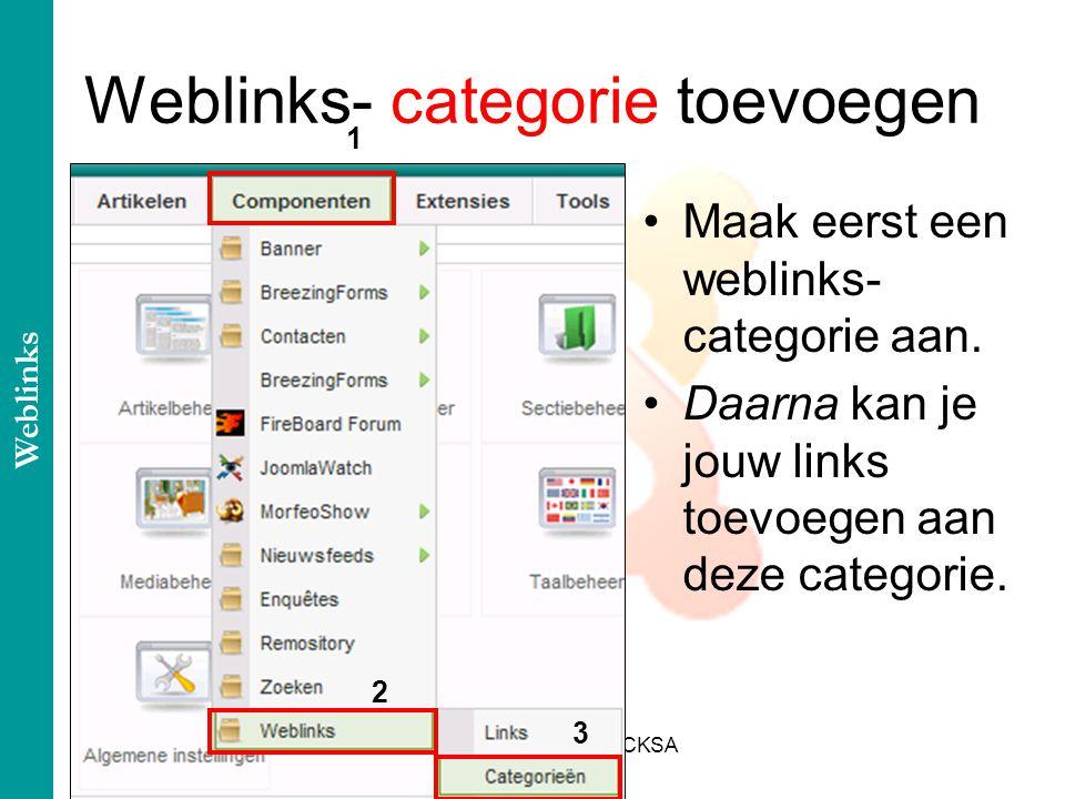 Cursus: Michel Lahaye@CKSA Weblinks- categorie toevoegen Maak eerst een weblinks- categorie aan.