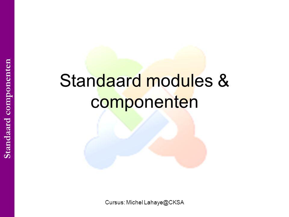 Cursus: Michel Lahaye@CKSA Standaard modules & componenten Standaard componenten