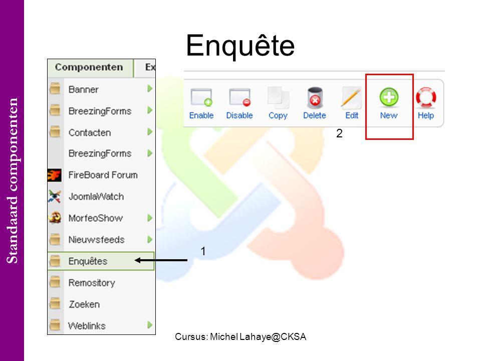 Cursus: Michel Lahaye@CKSA Enquête 1 2 Standaard componenten