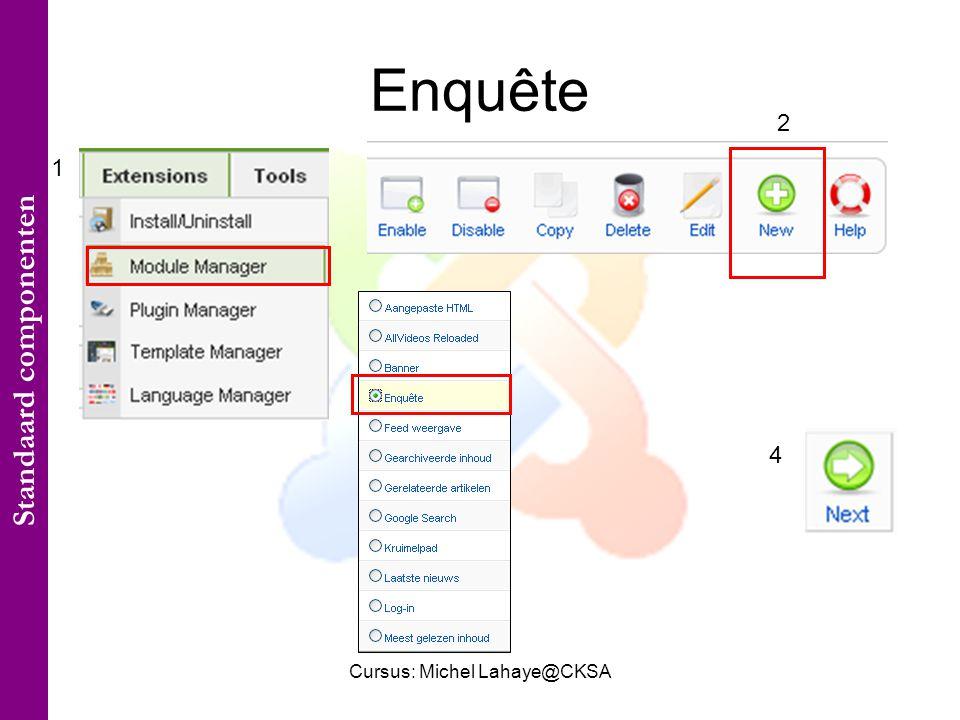 Cursus: Michel Lahaye@CKSA Enquête 1 2 3 4 Standaard componenten