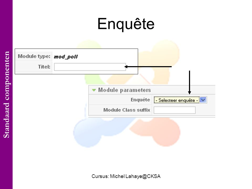 Cursus: Michel Lahaye@CKSA Enquête Standaard componenten