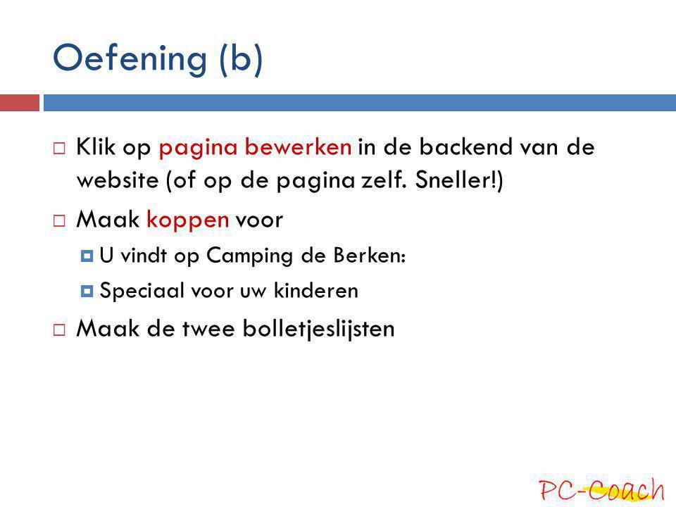 Oefening (b)  Klik op pagina bewerken in de backend van de website (of op de pagina zelf. Sneller!)  Maak koppen voor  U vindt op Camping de Berken