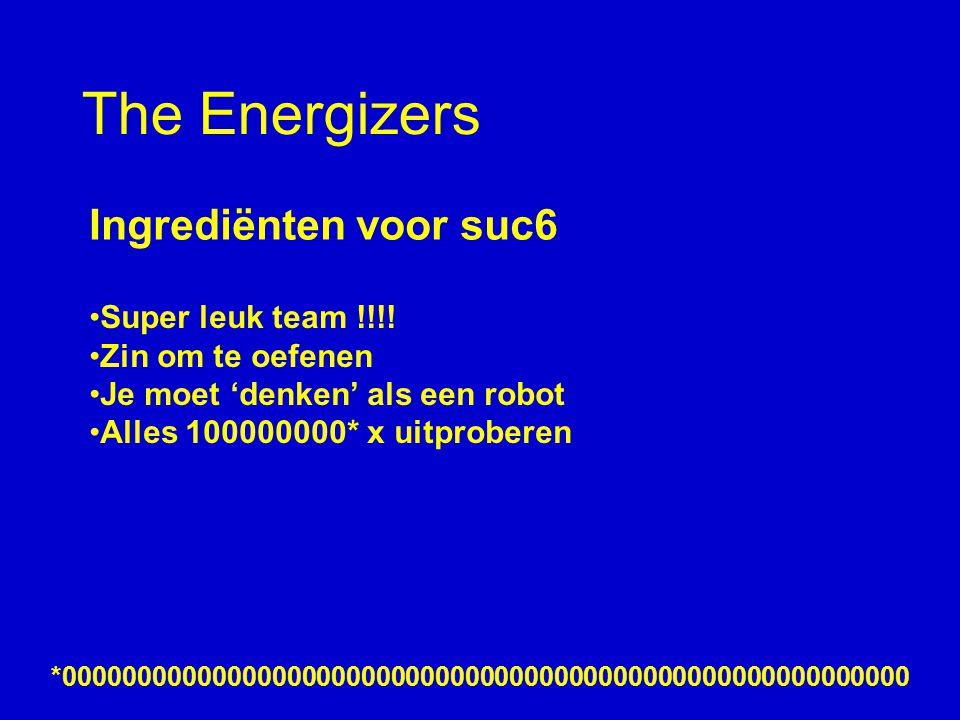 The Energizers Ingrediënten voor suc6 Super leuk team !!!.
