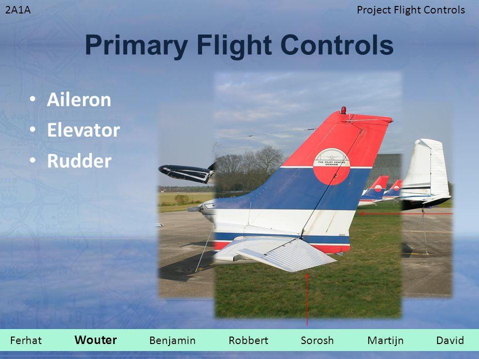 2A1AProject Flight Controls Primary Flight Controls Aileron Elevator Rudder Ferhat Wouter Benjamin Robbert Sorosh Martijn David.